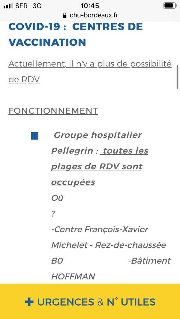 Depuis plusieurs jours, plus aucun rdv n'est disponible pour se faire vacciner au CHU de Bordeaux @6 mars 2021