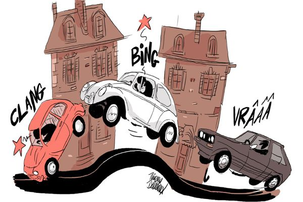 Le dessin de Thierry Doudoux sur ce ralentisseur décrié.