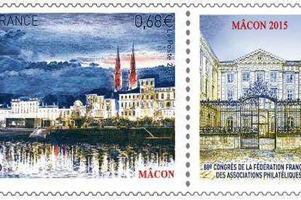 Le timbre émis par la Poste le 26 mai 2015 représente une vue panoramique de la ville de Mâcon de nuit, une gravure en taille-douce de Pierre Albuisson