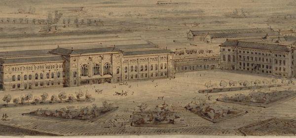 Gravure de la gare de Strasbourg datant de 1883, réalisée par Johann Eduard Jacobsthal