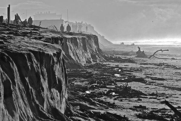 La plage de Soulac dévastée après les grandes marées, le 2 février 2014