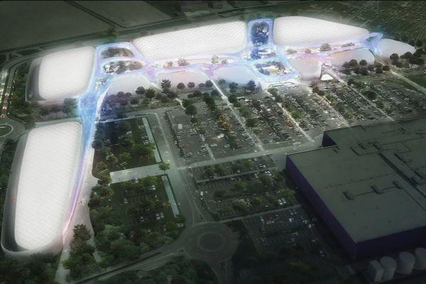 La maquette du projet de zone commerciale Open Sky. Prévu à Pacé, il ne verra finalement pas le jour