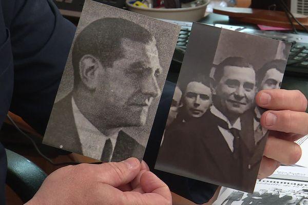 Le maire de Bricout montre deux photos d'archives de Louis Sandras.
