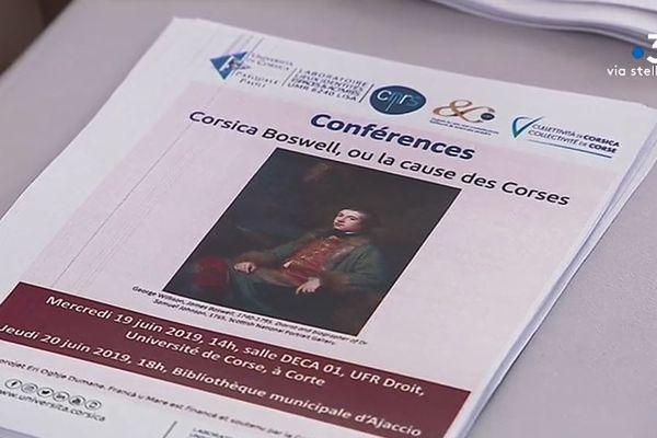 Durant deux jours, un cycle de conférences a été consacré à Corte aux liens entre l'écossais Boswell et la Corse du XVIIIème siècle.