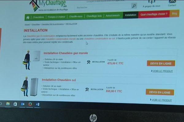 Un exemple du contenu du site internet.