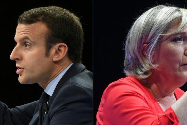Emmanuel Macron et Marine Le Pen respectivement photographiés le 10 décembre 2016 à Paris et le 11 mars 2017 à Déols (Indre).
