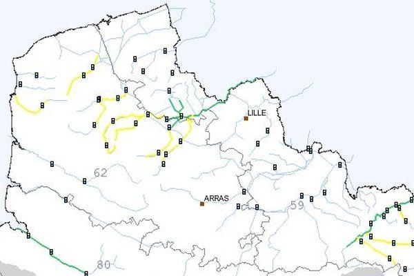 Vigicrues a placé plusieurs cours d'eau de la région sous vigilance jaune pour dimanche.