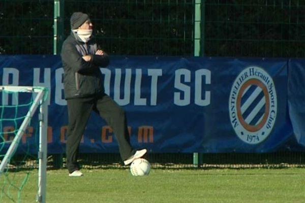 Montpellier : René Girard, entraîneur du MHSC au centre de Grammont durant la préparation avant Rennes-Montpellier - 14 janvier 2013.