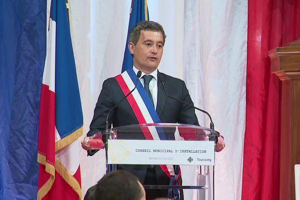 Gérald Darmanin, ce samedi 23 mai, lors de l'élection comme maire à Tourcoing