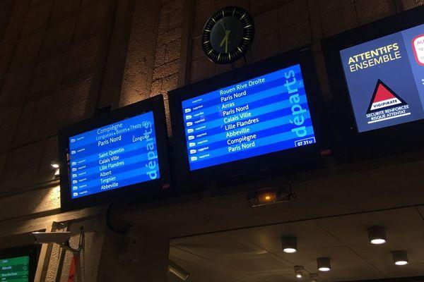 Trains supprimés ce lundi 10 février matin en gare d'Amiens en raison de la tempête Ciara