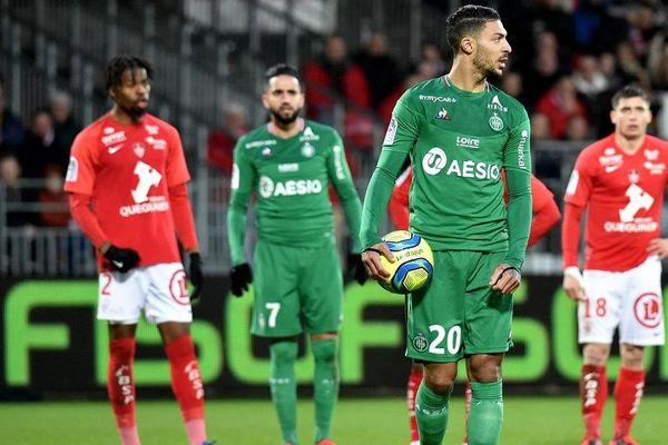 25 e journée de Ligue 1 entre le Stade brestois 29 et l'ASSE Saint-Etienne au stade Francis Le-Blé. 16/2/20