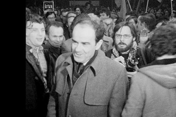 Georges Marchais, secrétaire général du PCF, en visite à Besançon en 1980