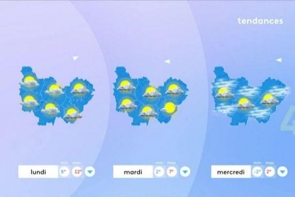 Les prévisions de Météo France pour lundi 24, mardi 25 et mercredi 26 décembre