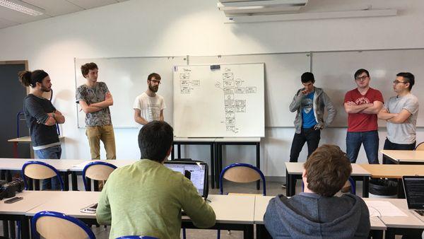 Les six étudiants du projet Teki en plein travail