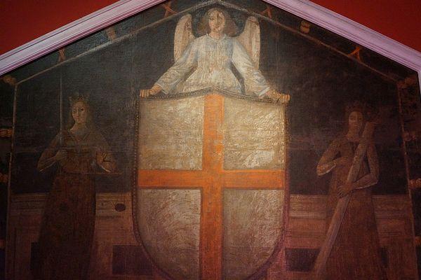 """""""Armes de la cité de Gênes"""" Anonyme, seconde moitié du XVe siècle. Cette oeuvre représente un ange entouré des allégories de la justice et de la force."""