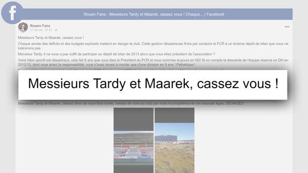 Le message clair sur Facebook des supporters du FC Rouen à destination des  deux actionnaires principaux.