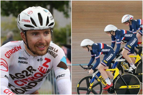 Benoît Cosnefroy sur le Tour du Finistère le 22 mai 2021/ Marion Borras parmi l'équipe de France lors de la poursuite par équipe à Cali en Colombie le 19 février 2017.