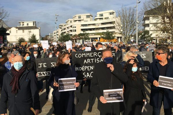 Manif des commerçants à La Baule, le 16 novembre 2020