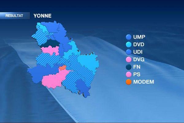 La carte des cantons de l'Yonne à l'issue du 2e tour des élections départementales de mars 2015