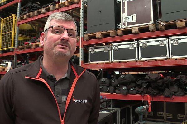 """Pascal Boivin est patron de la société """"Scorpion"""" spécialisée dans la prestation événementielle et audiovisuelle à Petit-Couronne (76). """"La crise du coronavirus est sans précédent."""""""