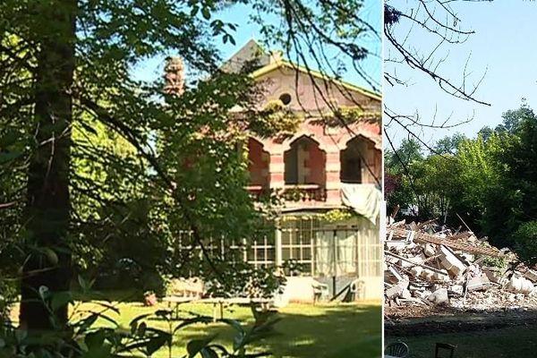 Vendredi 7 juillet au petit matin, les pelleteuses détruisent la villa Mauresque à Pessac. Sur cette photo, avant et après la démolition.
