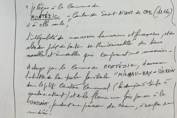 Le testament faisant de Montézic le légataire universel de Bernard Milhau