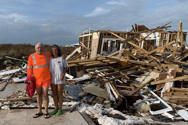 La maison du couple, détruite après le passage de Dorian.