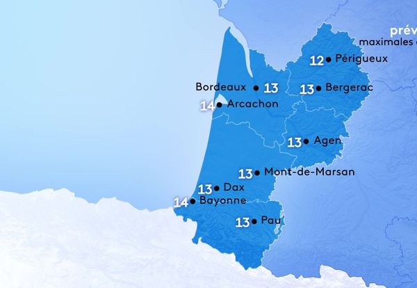 Les températures maximales varient de 12 degrés à Périgueux à 14 degrés le maximum à Arcachon et Bayonne.