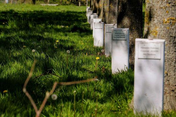 Stèles portant les noms des soldats britanniques massacrés par les SS à La-Plaine-au-Bois, entre Esquelbecq et Wormhout, le 28 mai 1940.