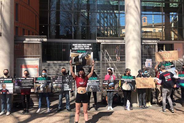 Des militants devant le palais de justice de Toulouse, en soutien aux deux animalistes jugés.