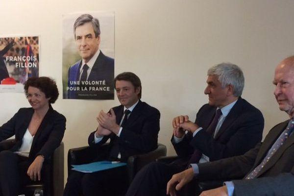 Aux côtés de François Baroin, Françoise Guégot députée de Seine-Maritime, Hervé Morin président de la région Normandie et Antoine Rufenacht, ancien maire du Havre