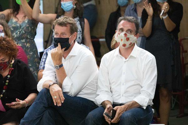 Yannick Jadot et Eric Piolle aux journées d'été des écologistes le 22 août à paris.