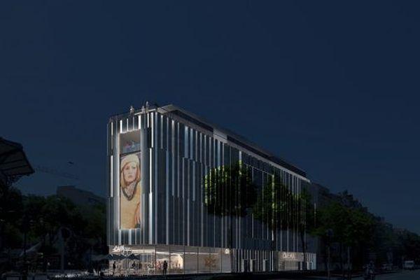 """Le futur nouveau cinéma de la Canebière, le """"Artplexe Canebière"""", sera visable de jour comme de nuit, tel un phare terminant la Canebière"""