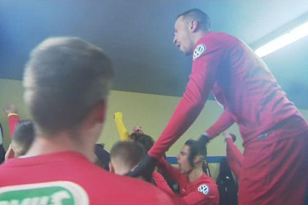 La joie des amateurs de Canet après leur exploit en coupe de France face à l'AC Ajaccio - 2 décembre 2017