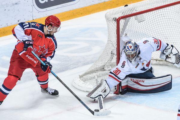 Jakub Stepanek, le nouveau portier des Brûleurs de Loups, ici face au CSKA Moscou en 2019.
