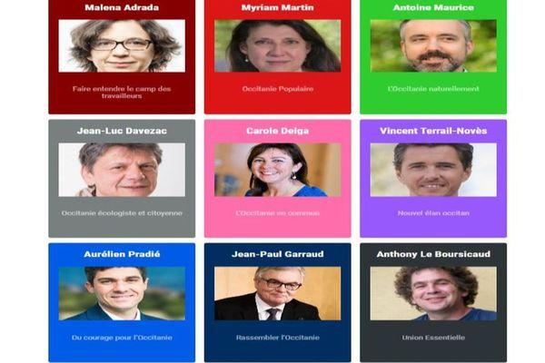 9 têtes de liste candidats aux Régionales 2021 en Occitanie des 20 et 27 juin prochains.