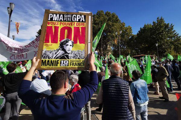 Le collectif d'associations Marchons Enfants, dont fait partie la Manif pour tous, organisait des manifestations ce samedi dans une soixantaine de villes de France, dont Aix-en-Provence, contre le projet de loi bioéthique. Les organisateurs comptent également dans leurs rangs l'association anti-IVG Alliance Vita et les associations familiales catholiques (AFC).