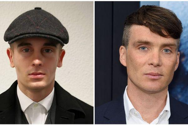 """À gauche Robin, choisi pour interpréter Tommy Shelby, à droite Cillian Murphy l'acteur qui joue ce rôle dans la série """"Peaky Blinders"""""""