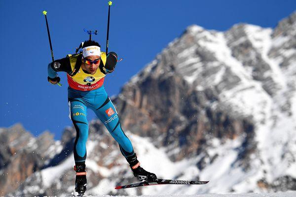 Martin Fourcade le 16 février 2017 à Hochfilzen en Autriche, lors des championnats du monde de biathlon.