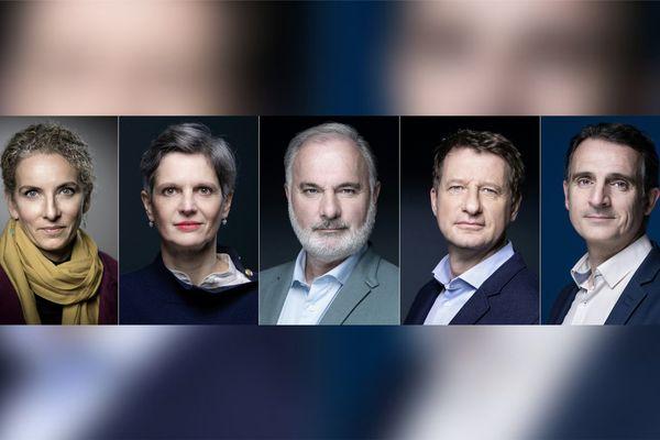 Les cinq candidats à la primaire des écologistes (de gauche à droite) Delphine Batho, Sandrine Rousseau, Jean-Marc Governatori, Yannick Jadot, et Eric Piolle.