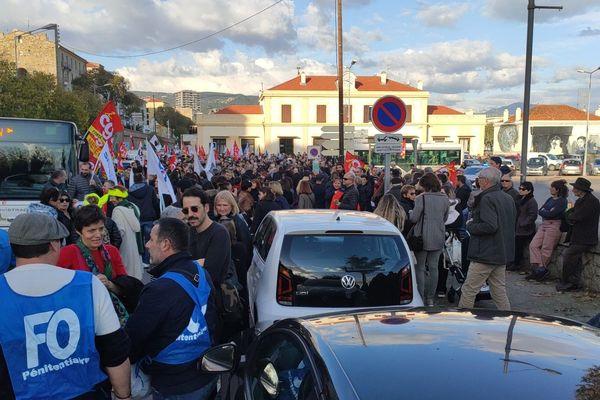 La manifestation contre le projet de réforme des retraites à Ajaccio, ce jeudi 5 décembre