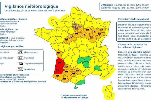 Météo-France a placé les Vosges en vigilance Orange en raison d'orages et de fortes précipitations jusqu'au lundi 11 mai à 18h. De 30 à 50 mm de pluie sont prévus voire 60 à 70 mm sur le sud du département et les reliefs.