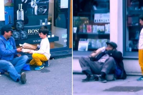 Arthur s'arrête régulièrement dans la rue pour discuter avec des SDF et leur offrir à manger.
