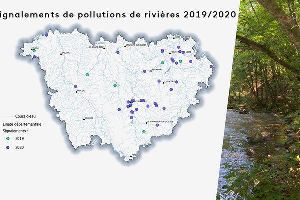 Le nombre de pollutions de cours d'eau signalé est passé de 9 en 2019 à 36 en 2020 en Haute-Loire.