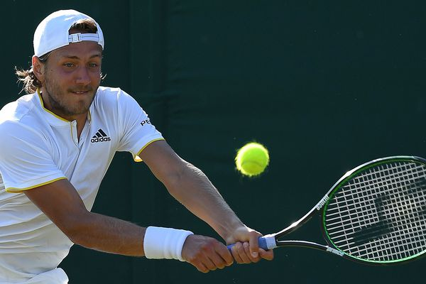 Lucas Pouille lors de son match contre Jerzy Janowicz, à Wimbledon