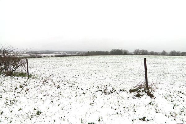 Une prairie enneigée à Solre-le-Château, dans l'avesnois.