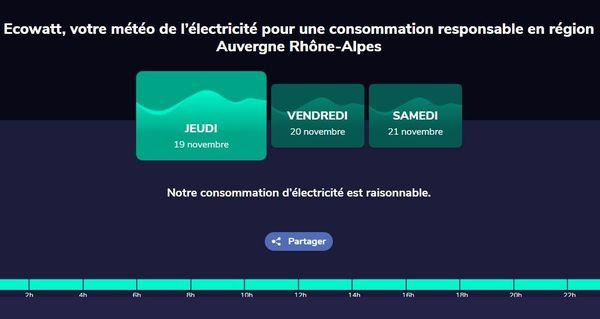Copie d'écran du site Ecowatt lancé par RTE en Auvergne-Rhône-Alpes ce 19 novembre