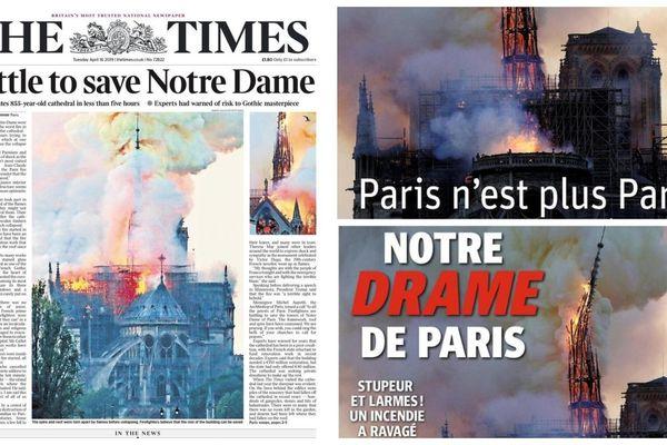 La presse belge et britannique a fait sa une sur l'incendie de Notre-Dame.
