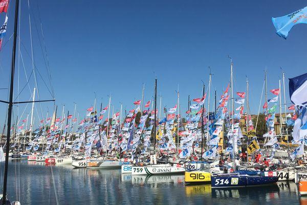 Les voiliers amarrés dans le bassin des Chalutiers à La Rochelle avant le départ en septembre 2019.