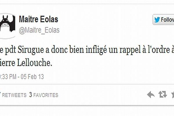 Le député-maire PS de Chalon-sur-Saône a menacé Pierre Lellouche, député UMP de Paris, d'un rappel à l'ordre lors du débat sur le mariage homosexuel